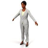 Schöne junge Afroamerikanergeschäftsfrau auf weißer Illustration 3D Stockbild