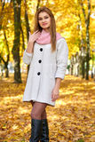 Schöne junge blonde Frau - buntes Herbstporträt Stockfotos
