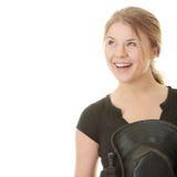 Schöne junge blonde Frau - Jockey Lizenzfreie Stockfotografie