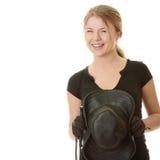 Schöne junge blonde Frau - Jockey Lizenzfreies Stockbild
