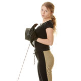 Schöne junge blonde Frau - Jockey Lizenzfreies Stockfoto
