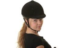 Schöne junge blonde Frau - Jockey Lizenzfreie Stockfotos