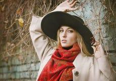 Schöne junge blonde Frau mit dem langen Haar Stockfotografie
