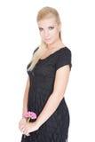 Schöne junge blonde Frau mit heller Verfassung Stockfotos