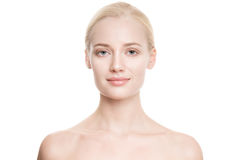 Schöne junge blonde Frau mit perfekter Haut Lizenzfreies Stockbild