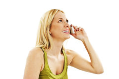 Schöne junge blonde Frau mit Telefon Stockfotografie