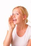 Schöne junge blonde Frauenunterhaltung Lizenzfreie Stockbilder