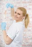 Schöne junge blonde Krankenschwester Stockbild