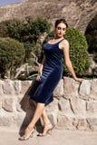 Schöne junge brunette Frau in einem blauen Abendkleid des Samts mit einer Kupplung, werfend in der Natur auf stockfoto