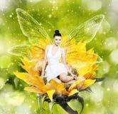 Schöne junge Brunettefrau als Sommerfee auf Sonnenblume Stockbild