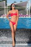 Schöne junge Brunettefrau in Sonnenbrille steht nahe dem p Lizenzfreies Stockbild