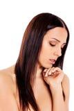 Schöne junge dünne schulterfreie Frau lizenzfreie stockbilder