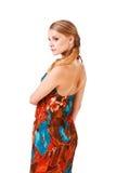 Schöne junge Dame im bunten Kleid Lizenzfreies Stockfoto