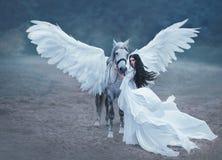 Schöne, junge Elfe, gehend mit einem Einhorn Sie trägt ein unglaubliches Licht, weißes Kleid Kunst hotography stockfotos