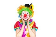 Schöne junge Frau als Clown stockfotos