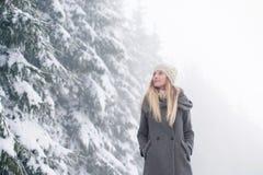 Schöne junge Frau auf einem Weg in der Winternatur Stockfotografie