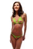 Schöne junge Frau in Badeanzug Stockfotos