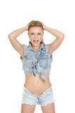 Schöne junge Frau in den Jeans Stockfotos