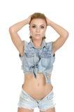 Schöne junge Frau in den Jeans Stockbild