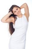 Schöne junge Frau in den positiven Ausdrücken stockbilder