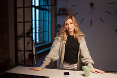 Schöne junge Frau in der Küche, früher Morgen, dunkel in der Wohnung stockfotografie