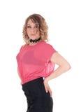 Schöne junge Frau in der rosa Bluse Stockfotografie