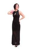 Schöne junge Frau, die elegantes Kleid trägt Stockfoto