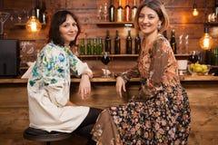 Schöne junge Frau, die ihre Freundschaft über einem Glas Wein in einer gemütlichen Kneipe am Zähler feiert lizenzfreie stockfotos