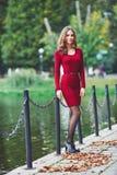 Schöne junge Frau, die nahe einem Teich steht Stockfotografie