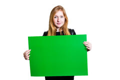 Schöne junge Frau, die Plakat hält Lizenzfreies Stockbild