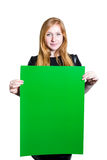 Schöne junge Frau, die Plakat hält Stockfotos