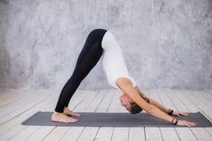 Schöne junge Frau, die zuhause, Yogaübung im Raum mit weißen Wänden tuend, abwärtsgerichtete Hundehaltung ausarbeitet Stockbilder