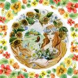 Schöne junge Frau in einer Girlande mit Blumenstrauß gegen Landschaftshintergrund Konzept eines Mädchens als Sommer stock abbildung