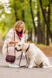 Schöne junge Frau geht mit ihrem Retriever im Park im Herbst stockfotografie