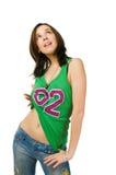 Schöne junge Frau getrennt auf weißem Hintergrund Lizenzfreies Stockfoto