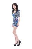 Schöne junge Frau im blauen Kleid Stockfotos