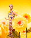 Schöne junge Frau im bunten Kleid Lizenzfreies Stockbild