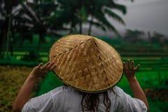 Schöne junge Frau im Glanz durch Kleidernotenasiaten, Vietnam-Reishut Mädchenweg am typischen asiatischen Abhang mit der Reisland stockfoto