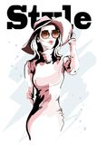 Schöne junge Frau im Hut Hand gezeichnetes Frauenportrait skizze vektor abbildung