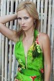 Schöne junge Frau im netten grünen Kleid, das auf weißer Bambuswand aufwirft Arbeiten Sie Foto, nettes blondes Haar, Sonnenbräune Stockfotos