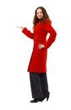 Schöne junge Frau im Rot Stockfoto
