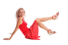 Schöne junge Frau im Rot lizenzfreie stockfotos