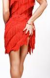 Schöne junge Frau im Rot von hinten Lizenzfreies Stockbild
