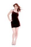 Schöne junge Frau im Samt-Kleid Lizenzfreies Stockbild
