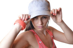 Schöne junge Frau im Studio Stockfotos