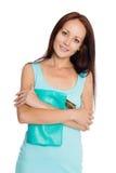 Schöne junge Frau im Türkiskleid Stockfotos