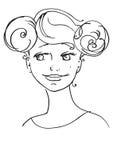 Schöne junge Frau, interessante Frisur Stockbilder