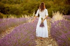 Schöne junge Frau, Lavendel auf einem Gebiet halten Stockbilder