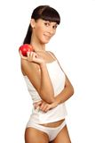 Schöne junge Frau lokalisiert auf weißem Hintergrund Stockfoto
