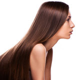 Schöne junge Frau mit dem eleganten langen glänzenden Haar Stockfotografie
